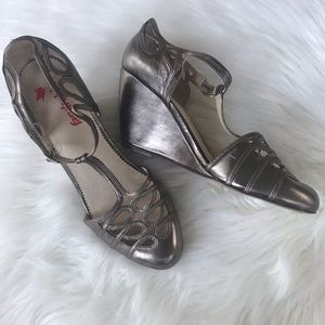FarylRobin metallic Mary Jane wedge sandals